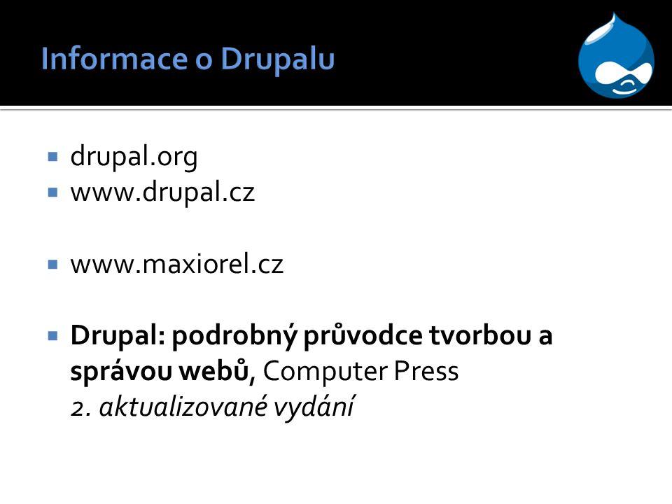 Informace o Drupalu drupal.org www.drupal.cz www.maxiorel.cz