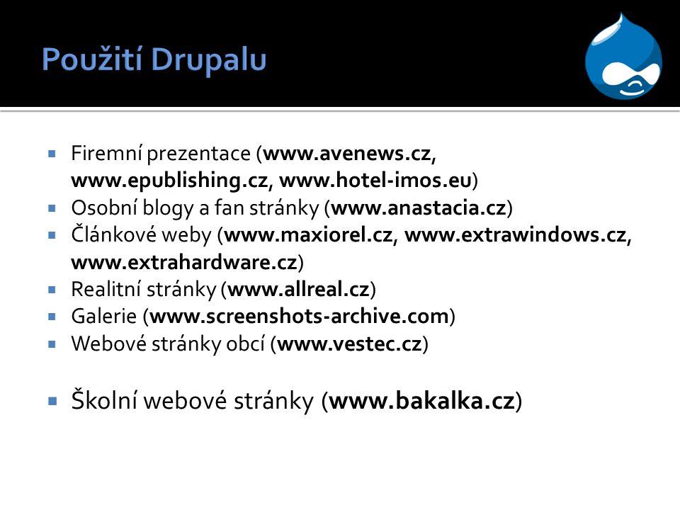 Použití Drupalu Školní webové stránky (www.bakalka.cz)