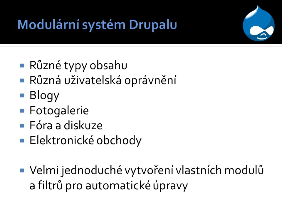 Modulární systém Drupalu