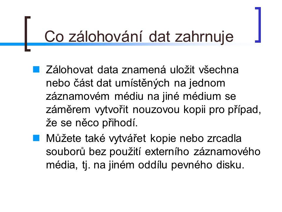 Co zálohování dat zahrnuje