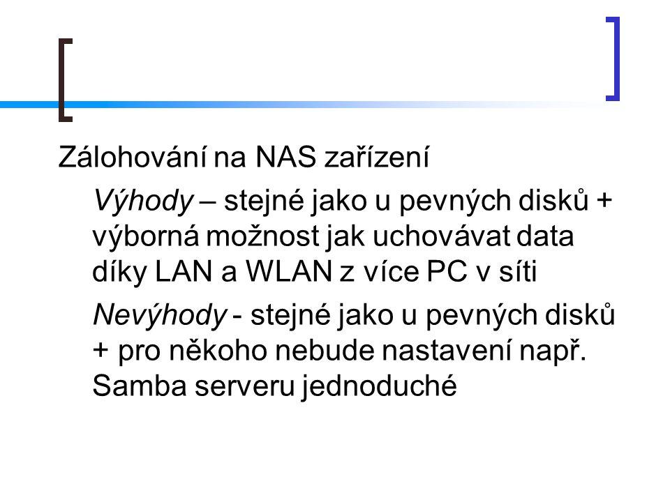 Zálohování na NAS zařízení