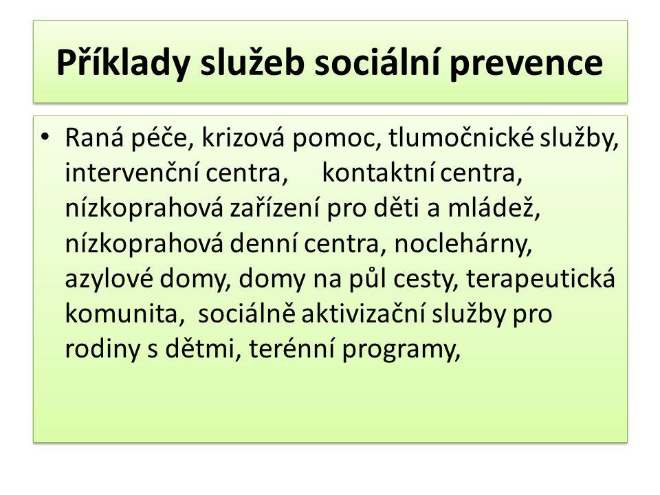 Příklady služeb sociální prevence
