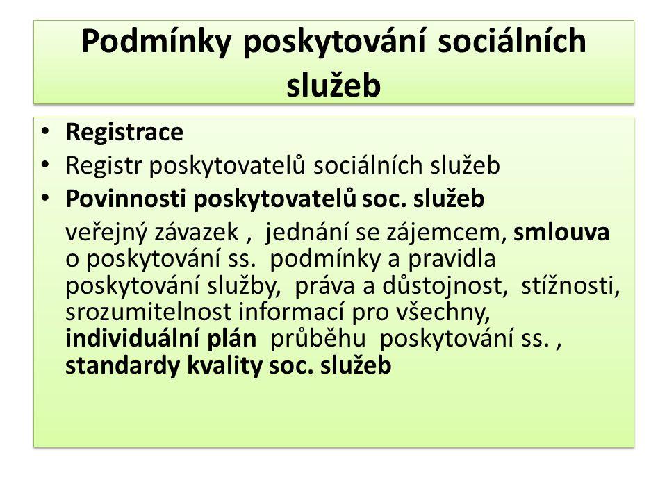 Podmínky poskytování sociálních služeb