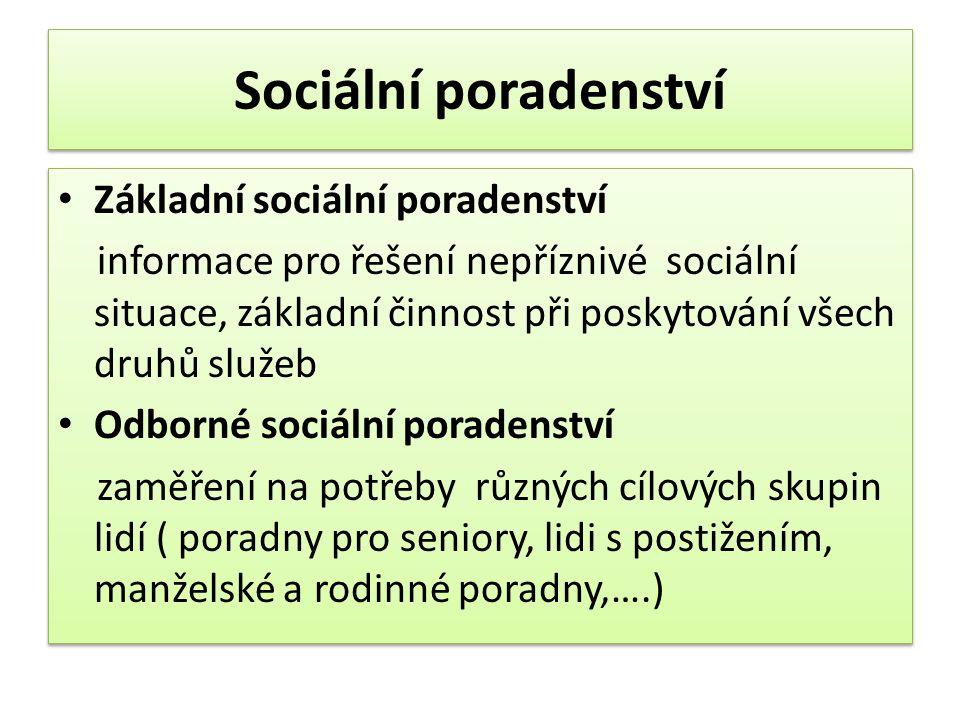 Sociální poradenství Základní sociální poradenství