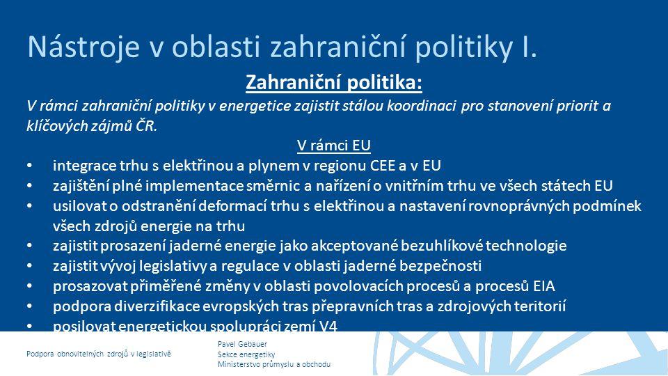 Nástroje v oblasti zahraniční politiky I.