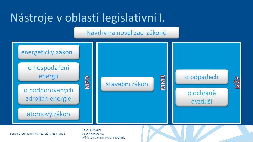 Nástroje v oblasti legislativní I.