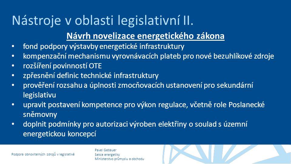 Návrh novelizace energetického zákona