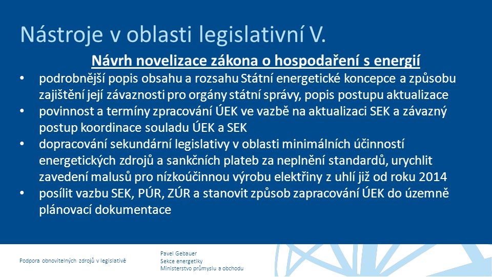 Návrh novelizace zákona o hospodaření s energií