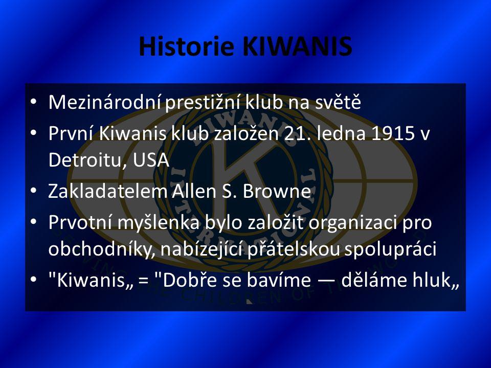 Historie KIWANIS Mezinárodní prestižní klub na světě
