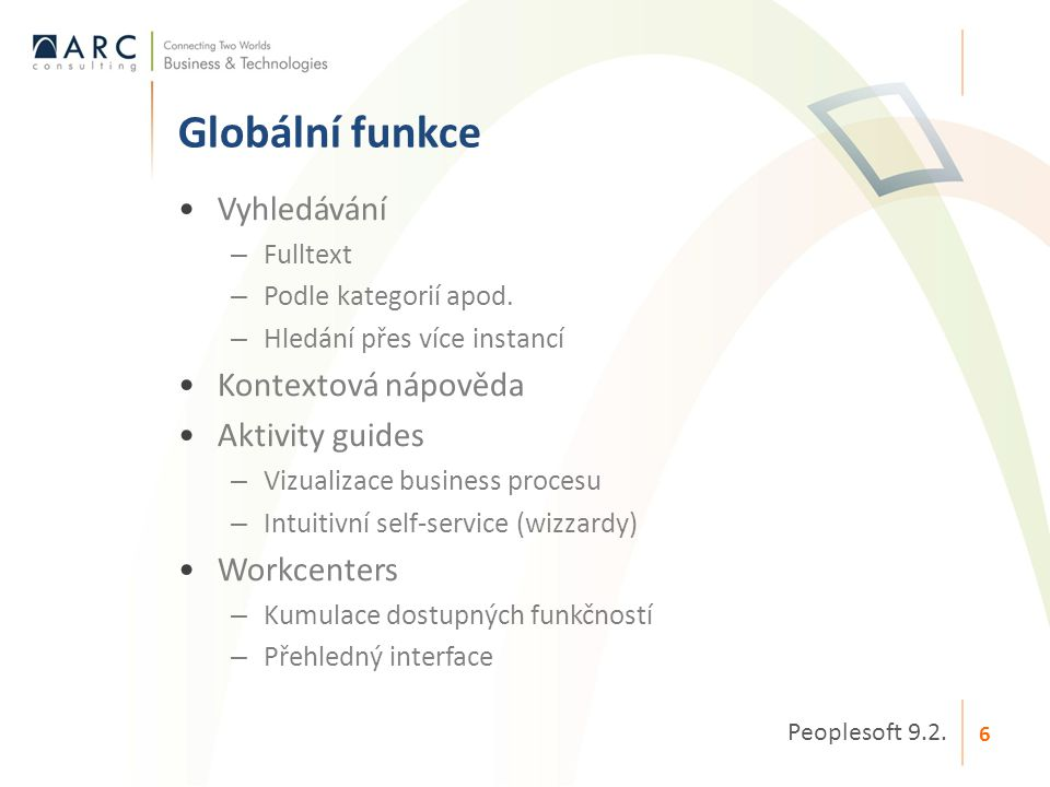 Globální funkce Vyhledávání Kontextová nápověda Aktivity guides