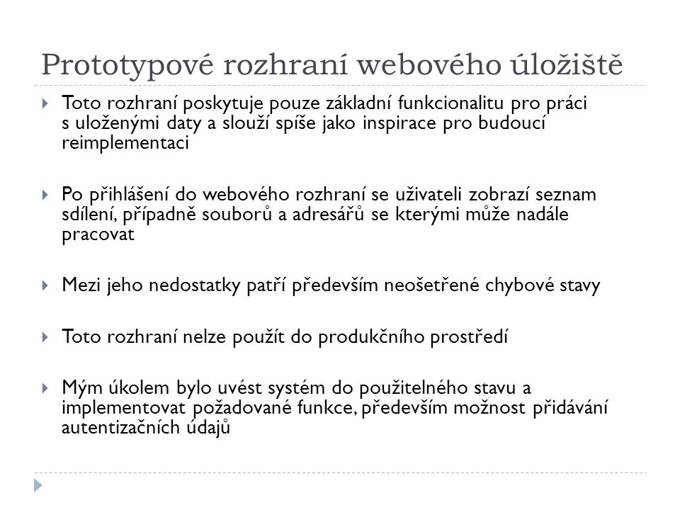 Prototypové rozhraní webového úložiště