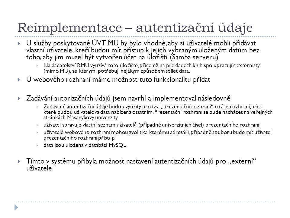 Reimplementace – autentizační údaje