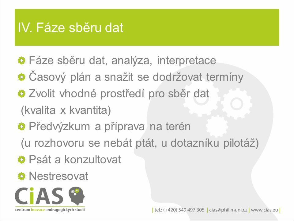 IV. Fáze sběru dat Fáze sběru dat, analýza, interpretace