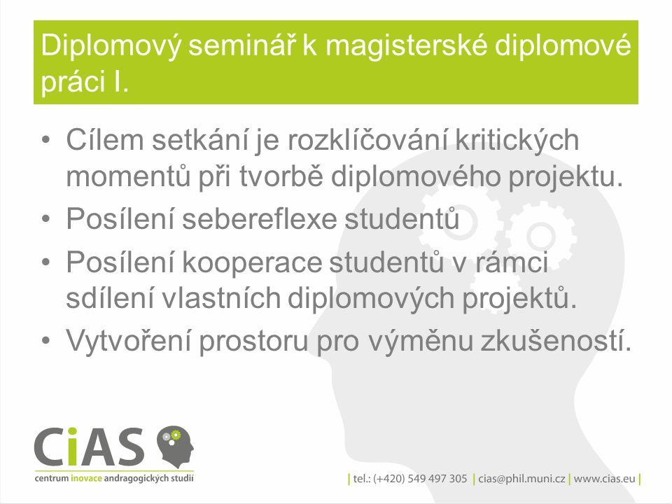 Diplomový seminář k magisterské diplomové práci I.