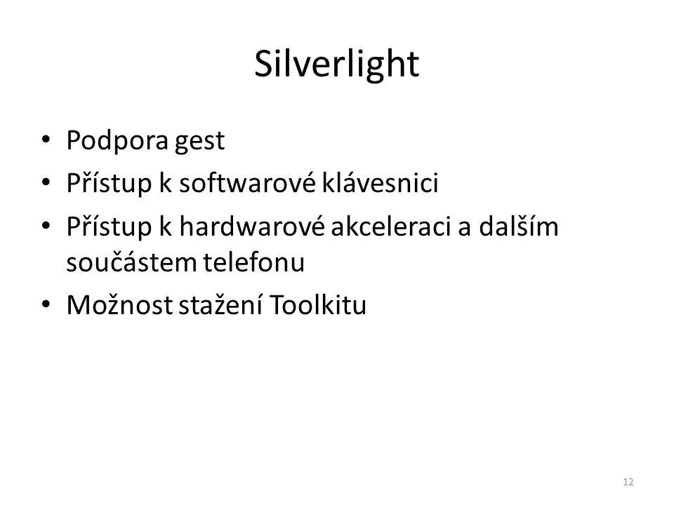 Silverlight Podpora gest Přístup k softwarové klávesnici