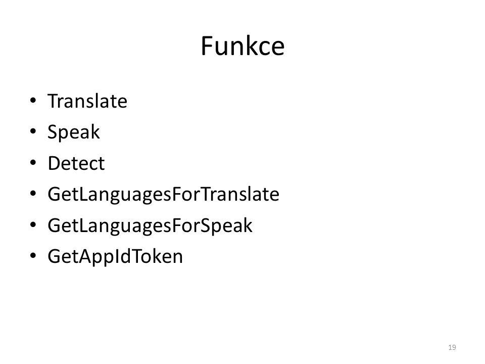 Funkce Translate Speak Detect GetLanguagesForTranslate
