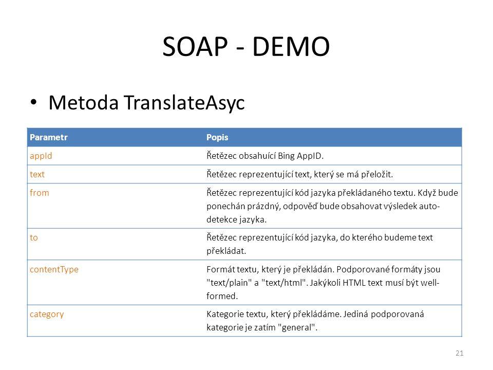 SOAP - DEMO Metoda TranslateAsyc Parametr Popis appId