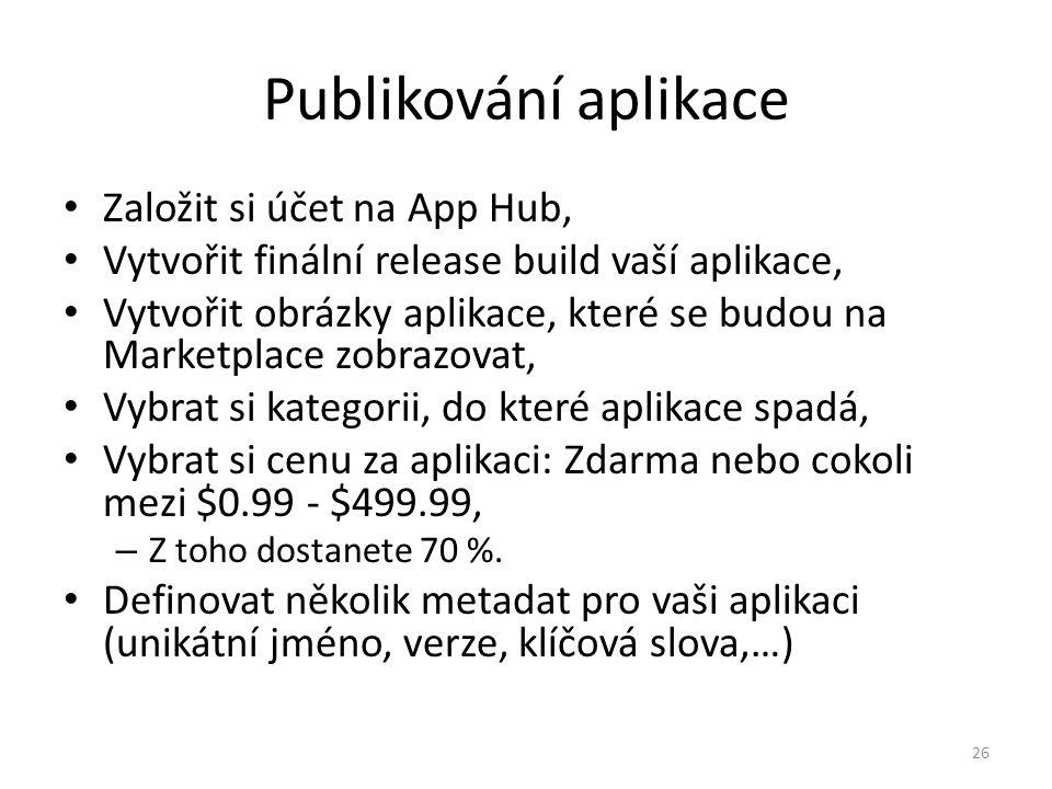 Publikování aplikace Založit si účet na App Hub,