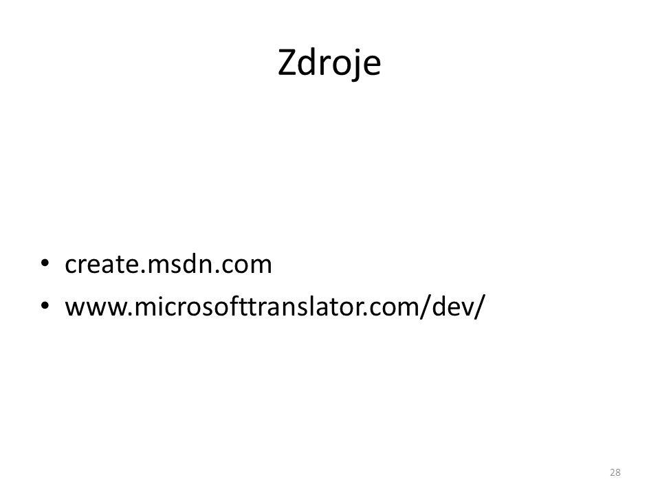 Zdroje create.msdn.com www.microsofttranslator.com/dev/