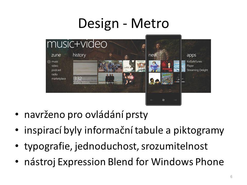 Design - Metro navrženo pro ovládání prsty