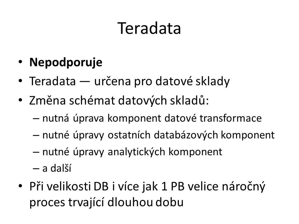 Teradata Nepodporuje Teradata — určena pro datové sklady