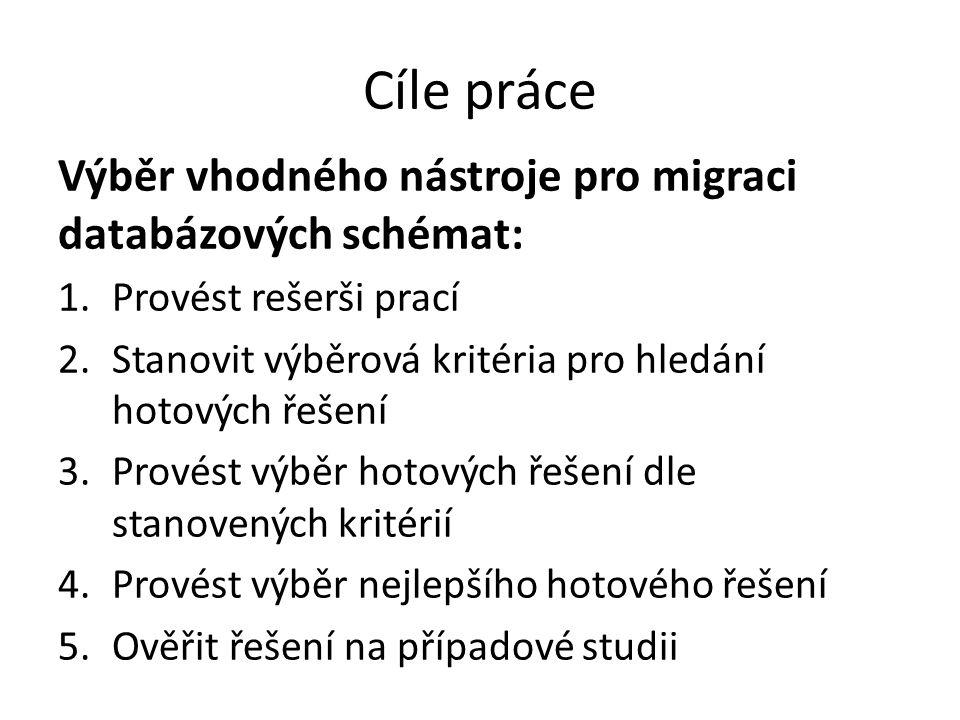 Cíle práce Výběr vhodného nástroje pro migraci databázových schémat:
