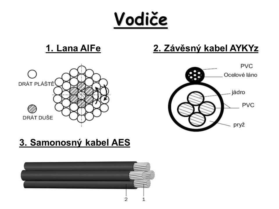 Vodiče 1. Lana AlFe 2. Závěsný kabel AYKYz 3. Samonosný kabel AES