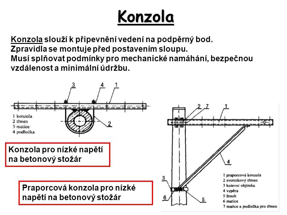 Konzola Konzola slouží k připevnění vedení na podpěrný bod.