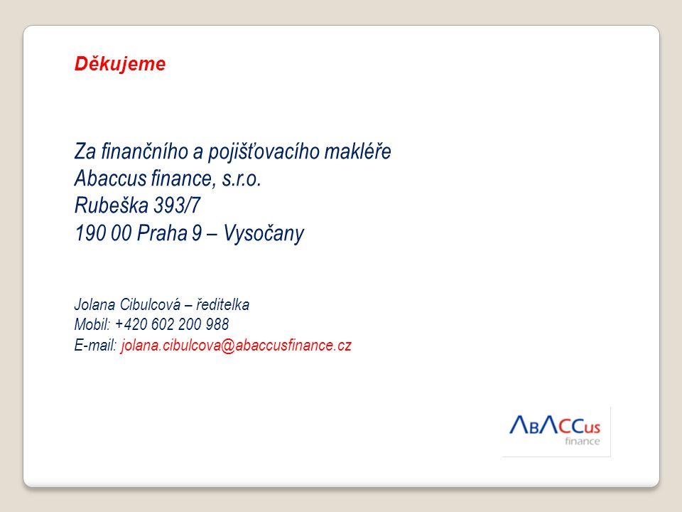Za finančního a pojišťovacího makléře Abaccus finance, s.r.o.