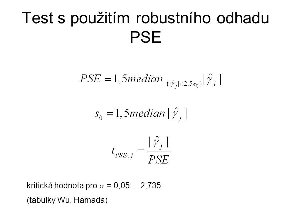 Test s použitím robustního odhadu PSE