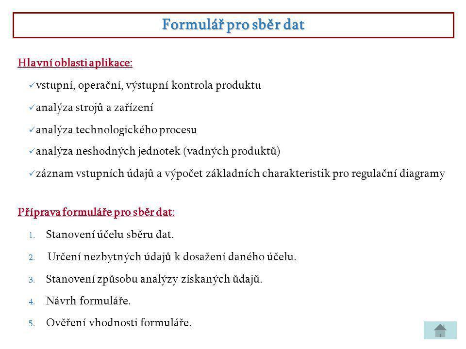 Formulář pro sběr dat Hlavní oblasti aplikace: