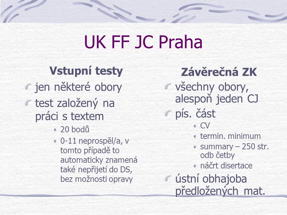 UK FF JC Praha Vstupní testy Závěrečná ZK jen některé obory