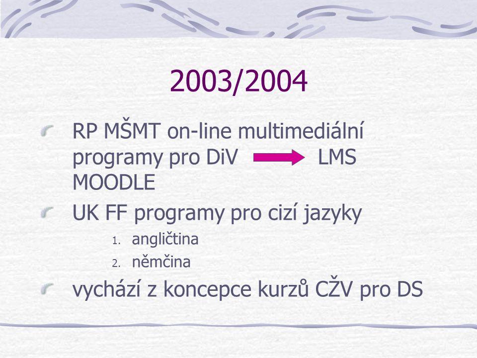 2003/2004 RP MŠMT on-line multimediální programy pro DiV LMS MOODLE