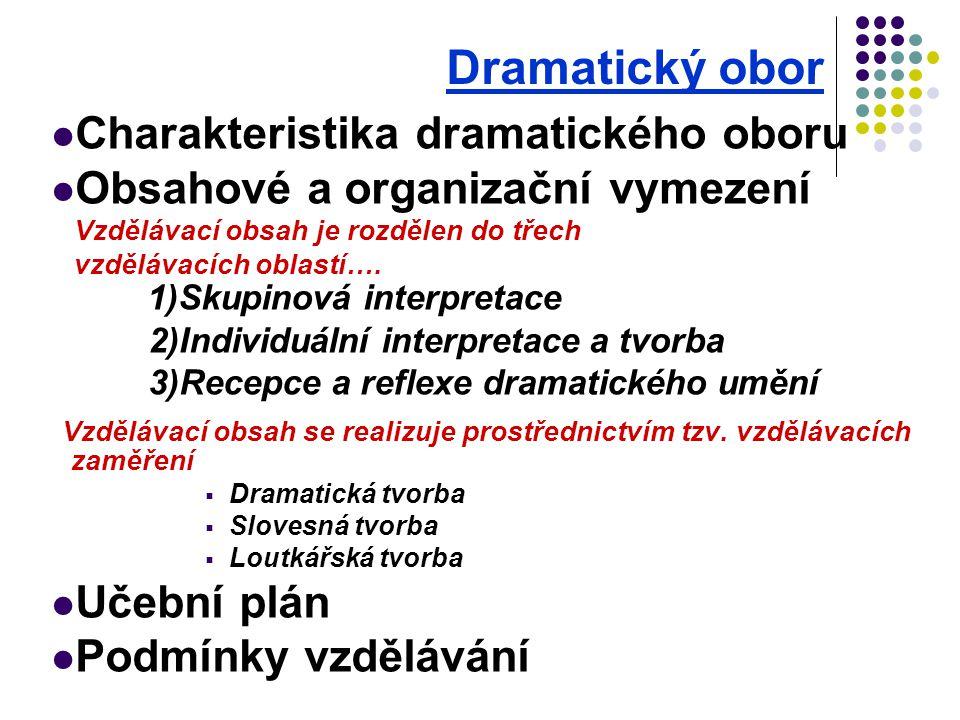 Dramatický obor Charakteristika dramatického oboru