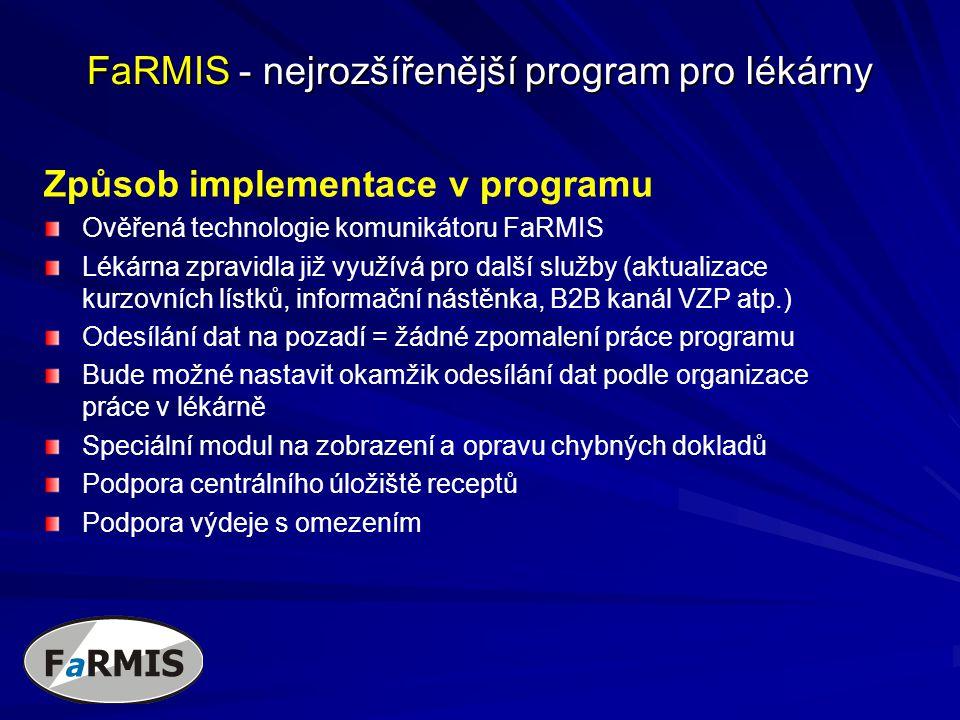 FaRMIS - nejrozšířenější program pro lékárny