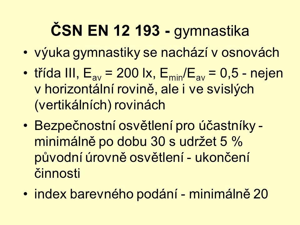 ČSN EN 12 193 - gymnastika výuka gymnastiky se nachází v osnovách