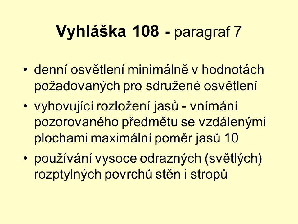 Vyhláška 108 - paragraf 7 denní osvětlení minimálně v hodnotách požadovaných pro sdružené osvětlení.