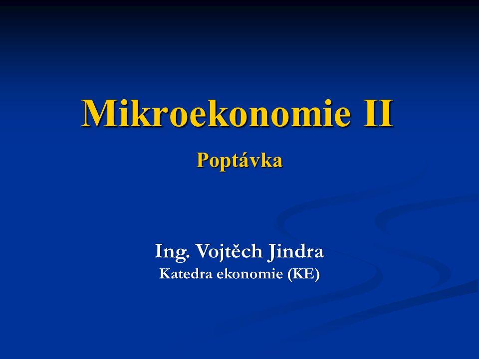 Mikroekonomie II Poptávka Ing. Vojtěch Jindra Katedra ekonomie (KE)