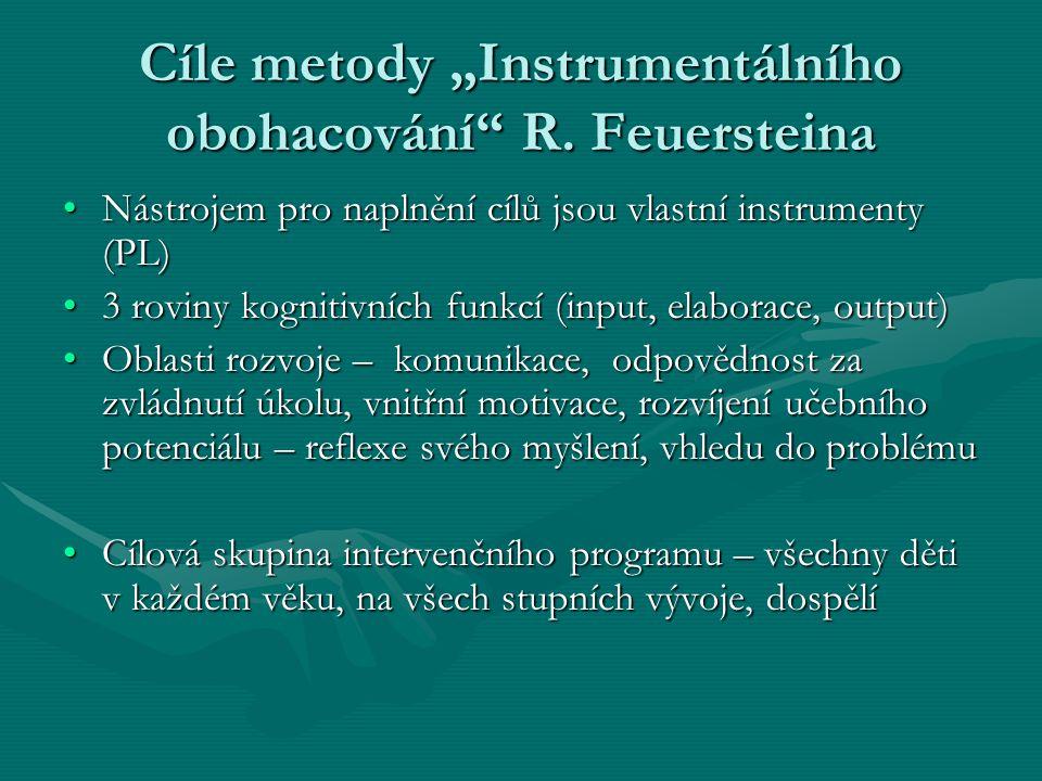 """Cíle metody """"Instrumentálního obohacování R. Feuersteina"""