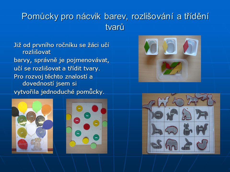 Pomůcky pro nácvik barev, rozlišování a třídění tvarů
