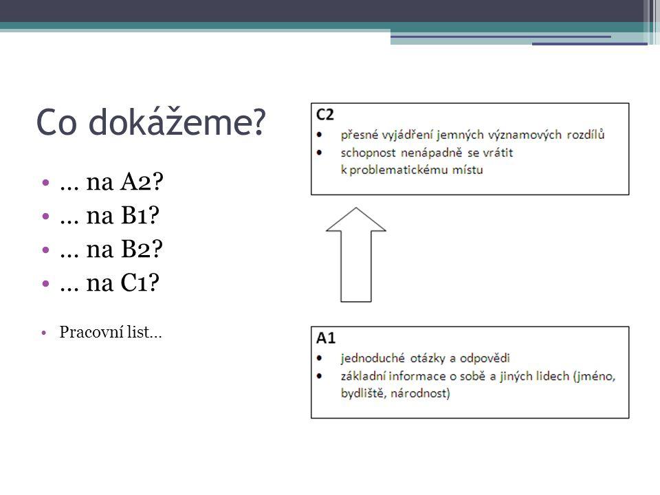 Co dokážeme … na A2 … na B1 … na B2 … na C1 Pracovní list…