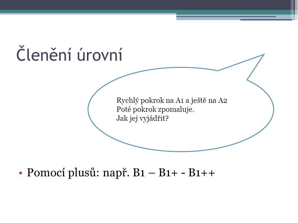 Členění úrovní Pomocí plusů: např. B1 – B1+ - B1++