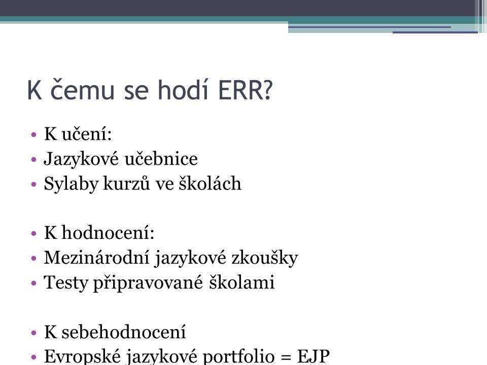 K čemu se hodí ERR K učení: Jazykové učebnice Sylaby kurzů ve školách