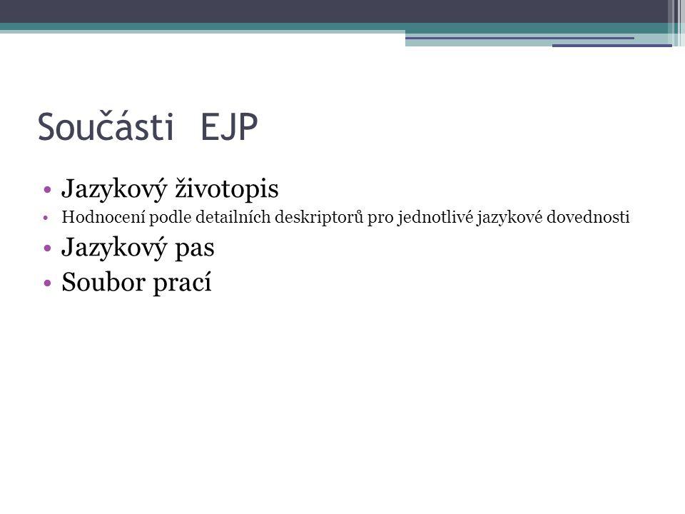 Součásti EJP Jazykový životopis Jazykový pas Soubor prací
