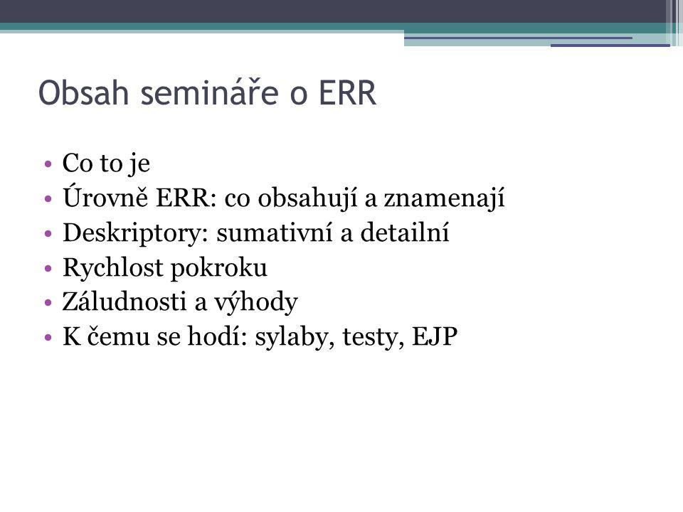 Obsah semináře o ERR Co to je Úrovně ERR: co obsahují a znamenají