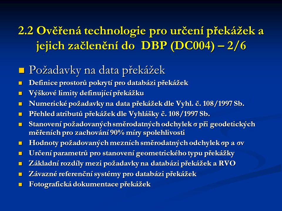 Požadavky na data překážek