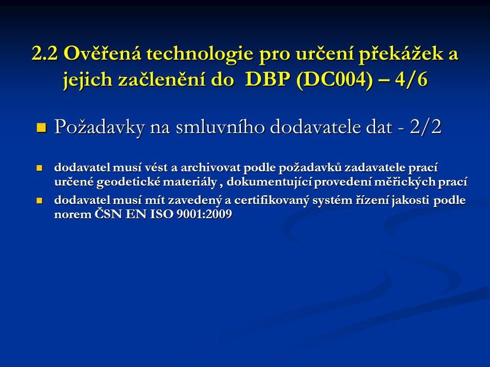 Požadavky na smluvního dodavatele dat - 2/2