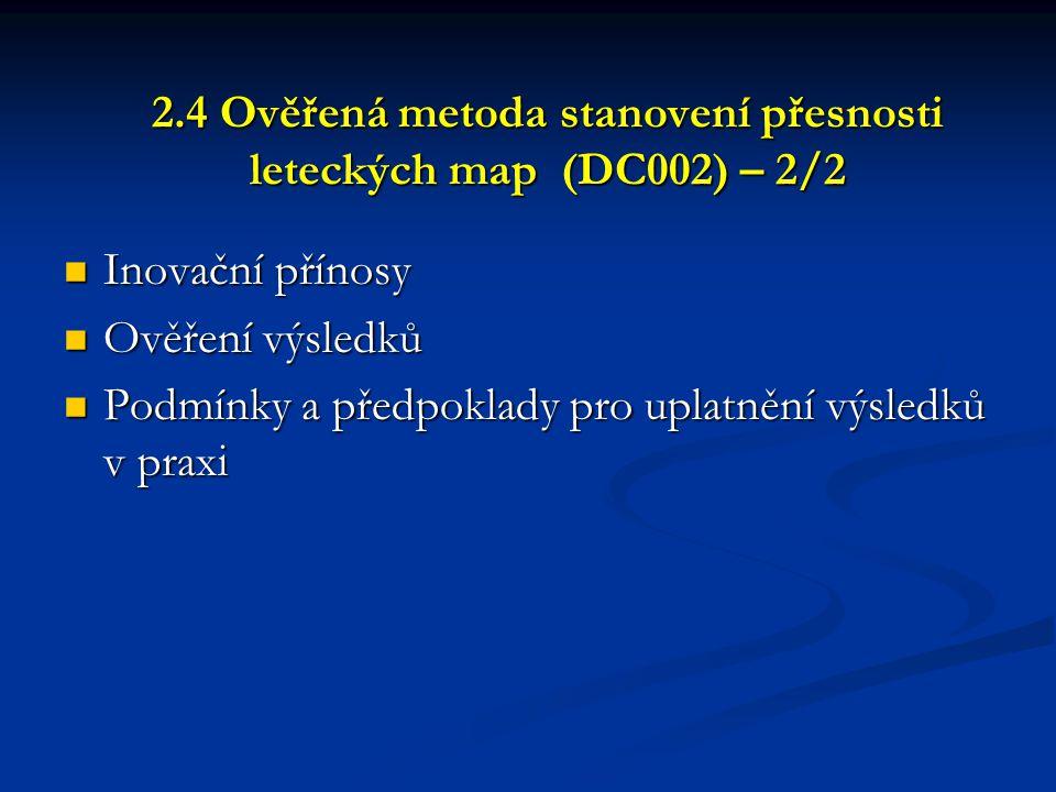 2.4 Ověřená metoda stanovení přesnosti leteckých map (DC002) – 2/2