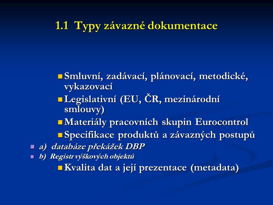 1.1 Typy závazné dokumentace