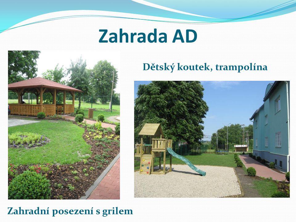 Zahrada AD Dětský koutek, trampolína Zahradní posezení s grilem